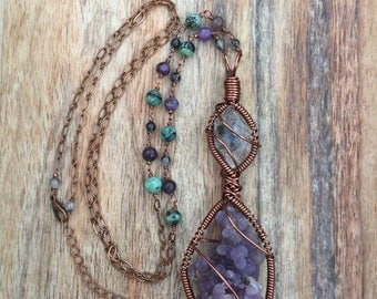RESERVED: Long herkimer diamond & grape agate necklace with tourmalinated quartz, lepidolite, and African turquoise