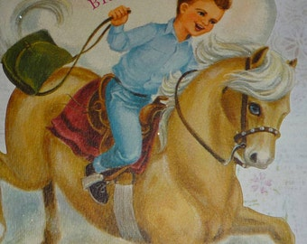 Boy Riding Horse For a Swell Brother Happy Birthday Vintage 1950s Hallmark Card