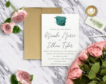 WATERCOLOR|Wedding Invitation Set #0914