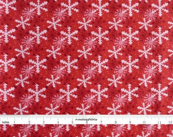 Pink & Red Snowflake Fabric, In The Beginning Fabric,  It's Christmas 8JHF1 Jennifer Heynen, Red Snowflake Quilt Fabric, Christmas Cotton