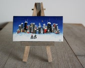 Chicago penguins, mini painting on easel, night skyline, Winter, in love, 2x4 ooak, ready to ship