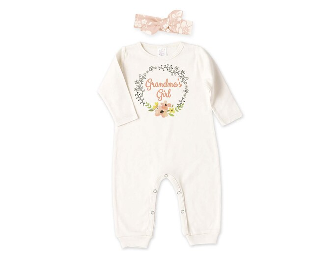 Grandma's Girl Newborn Coming Home Outfit, Newborn Girl Outfit, Baby Girl Take Home Romper, Grandma's Girl Baby Outfit, Tesababe RH81IY59BPR
