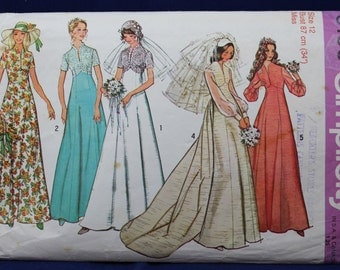 1970's Wedding and Bridesmaid Dress Sewing Pattern in Size 12 - Simplicity 6160