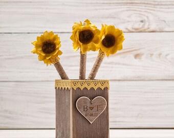 Sunflower Guest Book Wedding Pen Holder Sunflower Wedding Pen Rustic GuestBook Pens Rustic Holder Burlap Pen Flower Wedding Pen