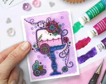 Watercolour Fairytale Cake with Flowers Print - ACEO Size, Collectable Miniature Art by Sarah Travis