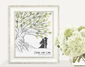 Zelda and Link Wedding Tree Thumbprint Tree Guestbook Print - Digital File Only