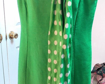 Vintage Green Ladies Mod 60s/70s Dress with Bowtie/Scarf by Alison Ayeres