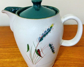 Original Vintage 60s DENBY GREEN WHEAT Coffee Or Tea Pot English Stoneware Albert Colledge 1.5 Pint**Two Available**