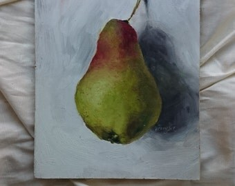 Still life with Pear, Original Oil Painting, Still Life, Painting Original Fruit, Fine Art, Realism Oil Painting, Kitchen Decor, 8x6 inch