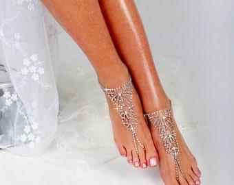 Rhinestone Anklet, Rhinestone Barefoot Sandals, Anklet, Beach wedding Starfish Barefoot Sandal, Bridal Barefoot Sandals, footless sandal