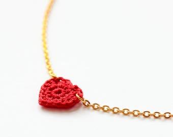 Crochet heart necklace gold, Crochet necklace, Heart jewelry, Hypoallergenic necklace minimalist
