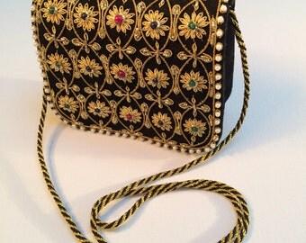 Gold Embroidered Crossbody Bag, Embellished Bag, Black Satin Frame with Beaded Front, Evening Bag, Prom Bag, Beaded Handbag