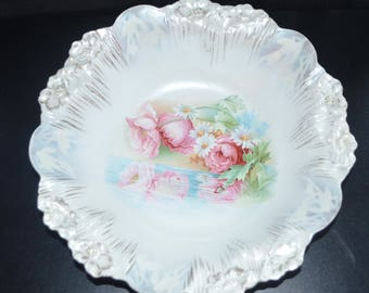 Antique RS Prussia Porcelain Bowl Pearl Luster Reflecting Poppies & Daisies Mold 7 Icicle Mold FD 36 Art Nouveau Period Cottage Chic Decor