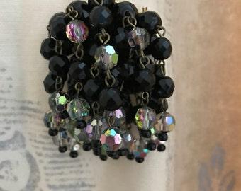 vintage cluster bead brooch