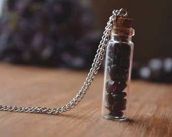 SALE Garnet Vial Necklace