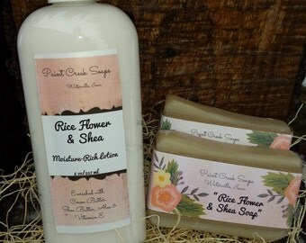 Rice Flower and Shea Lotion   Rice Flower and Shea Soap   Lotion/Soap Combo   Handcrafted in Iowa