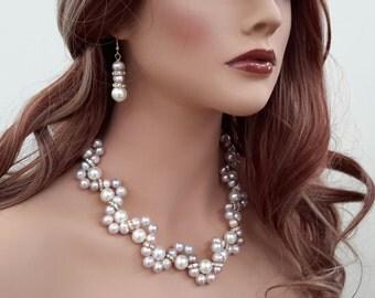 Mauve Pearls Necklace Set
