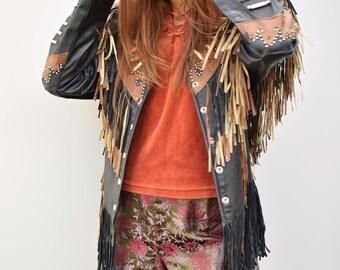 Genuine leather fringed studded eighties jacket