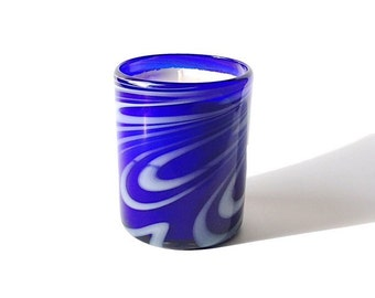 """Hand Blown Recycled Glass """"Whirling Cobalt"""" Blue & White Art Tumbler Vanilla Soy Candle"""