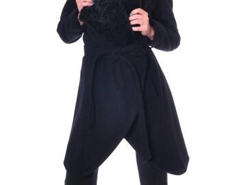 Womens Wool Coat, Winter Coat Women, Black Wool Coat, Warm Coat, Asymmetrical Winter Jacket, Designer Coat Faux Leather, Danellys D14.07.01