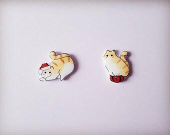 Cat earrings, Christmas cat, Cat stud earrings, Cat jewellery, Earrings, Crazy cat lady