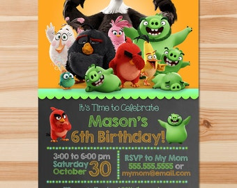 Angry Birds Birthday Invite - Chalkboard - Angry Birds Invitation - Angry Birds Party - Angry Birds Printables - Angry Birds Movie