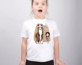 Tiger Shirt Funny Shirt for Kids Tiger Trainer Girls Printed Tee Boys Graphic Clothing Design Shirt Childs Top Cute Shirt Cool Tee PA1096