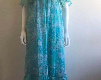 1970s Dress / Midi / Turquoise / Floral / Chiffon / Ruffles / S-M
