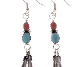 Navajo Turquoise Earrings Silver Feathers Coral French Hooks