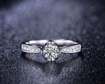 Round Cut Moissanite Engagement Ring 14k White Gold Forever Brilliant Moissanite Ring Milgrain Diamond Engagement Ring Charles & Colvard