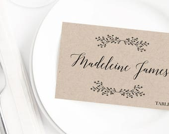 Rustic Wedding Place Cards Wedding Place Card Template Printable Name Cards for Wedding Table Cards Calligraphy Wedding Name Place Cards PDF