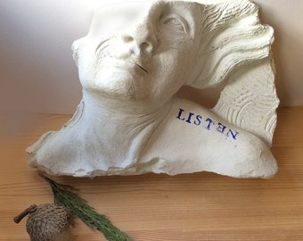 Wall sculpture cement bas relief of woman's face for the home or garden, fragment, farmhouse, cottage, classical, face, mask, female