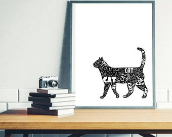 Cat Printable,Cat print, Cat Clip Art, Mother's Day gift for catlover, Cat print, Cat quotes, Cat wall art, cat card, cat mug