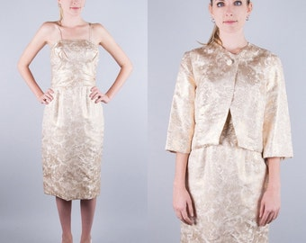 BULLOCKS Vintage 50s Gold Satin Hourglass Wiggle PARTY Dress and Jacket 2pc GORGEOUS xs/s