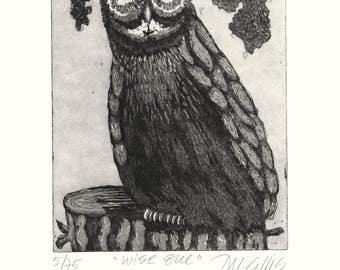 owl art print, bird wall art, black and white art print, bird art, wise owl, bird art, limited edition art, etching, printmaking, tree stub,