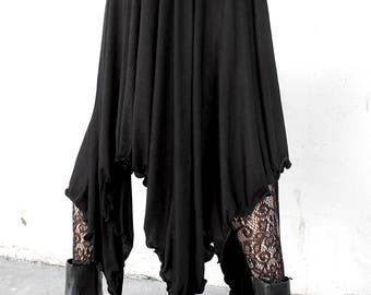 WITCHY BLACK JERSEY ligthweight stretch knit maxi skirt