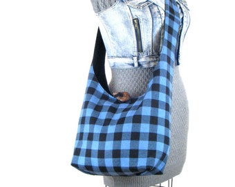 Sling Bag for Women - Across Body Bag - Vegan Handbag - Buffalo Plaid Purse - Slouch Bag - Crossbody Purse - Hobo Shoulder Bag - Boho Bag