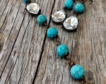 SET Bridesmaid Jewelry Turquoise BLING Dangle Earrings Rhinestone Bracelet Gift Gifts Joellie Boutique Rustic Glam Wedding