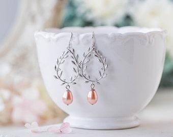 Peach Wedding Bridal Earrings Silver Laurel Wreath with Swarovski Peach Teardrop Pearl Dangle Chandelier Earrings Bridal Bridesmaid Earrings