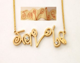Personalized Your Childs Art Signature Necklace: Kid Name Necklace, Child artwork Necklace, Kid Art Child Name Necklace Handwriting Jewelry