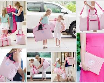 Girls Pink Seersucker Travel Bags, Pink Seerscuker Tote, Garmet Bag, Duffle Bag