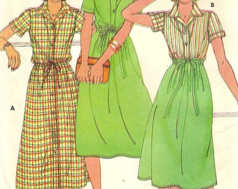 Willi Smith Wrap Skirt Dress Top Womens Size 8 Vintage 1970s Sewing Pattern