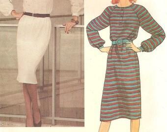 Vintage Vogue Pullover Dress Raglan Sleeves Womens Size 12 Uncut Sewing Pattern