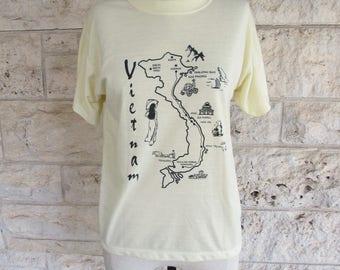 80's Vietnam T-Shirt Small Yellow Vintage Tee Vietnam Souvenir Xs T-shirt