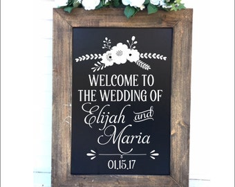 Rustic Wedding Decal Floral Wedding Decor Vinyl Decal for Chalkboard Personalized Decal for Wedding Mr and Mrs Decal DIY Decal Wedding Decor