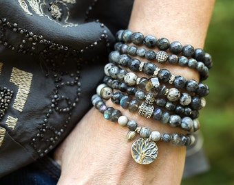 Tree of Life Bracelet, Beaded Bracelet, labradorite Bracelet, Stretch Bracelet, Boho Bracelet, Tree Charm Bracelet, Stackable Bracelet, Boho