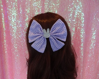 Sweetie Bunny Lolita Kawaii Lilac Gingham Twin Tail Bow