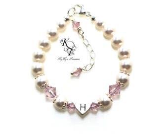 Little Girl Jewelry Personalized Baby Bracelet Baby Girl Bracelet Birthstone Baby Bracelet Pearl Baby Bracelet Initial Bracelet Baby Shower