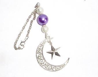 Moon & Star Rear View Mirror Charm, Car Mirror Charm, Car Ornament, Metal Sun, Car Decoration, New Car Gift, Moon Charm, Purple Sun Catcher