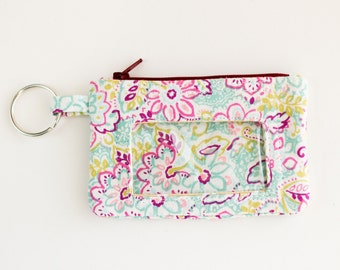 Pink and Blue Floral Zipper Pouch with ID Window, Change Purse, Key Wallet, Earbud Case, Pink, Green, Blue Floral Cotton Fabrics, Handmade
